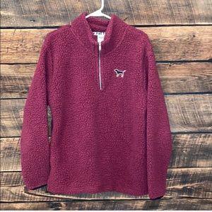 Pink Victoria's Secret Sherpa pullover, burgundy
